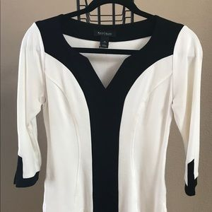 WHBM fitted black and white top